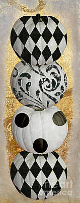 Halloween Pumpkin Painting - Mardi Gras Halloween by Mindy Sommers