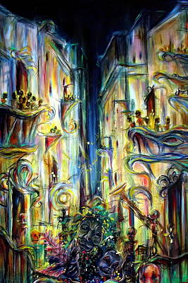 City Scape Painting - Mardi Gras by Heather Calderon