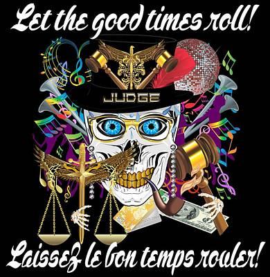Quebec Streets Mixed Media - Mardi Gras Judge-2-jpg-black Back Fits Full by Bill Campitelle