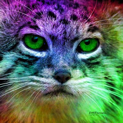 Fuzzy Digital Art - Mardi Gras Kitty by Diane Parnell