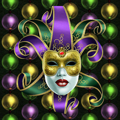 Photograph - Mardi Gras Mask And Beads by Gary Crockett