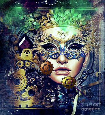 Digital Art - Mardi Gras Mask by Kathy Kelly