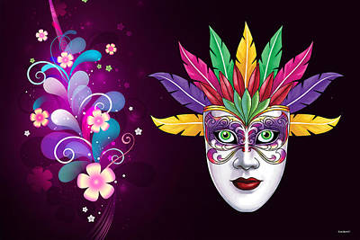 Photograph - Mardi Gras Mask On Floral Background by Gary Crockett
