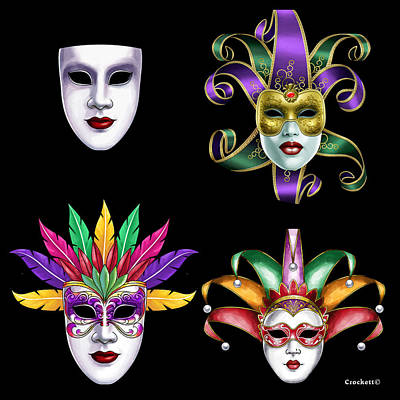 Photograph - Mardi Gras Masks by Gary Crockett