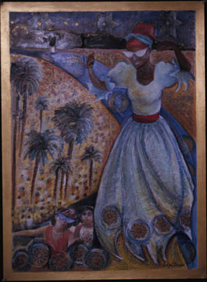 Purim Painting - Mardi Gras Megillah by Barbara Nesin