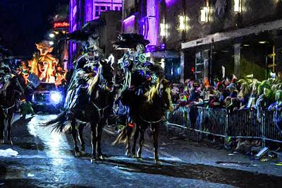Digital Art - Mardi Gras Mot 2 Horses by Michael Thomas