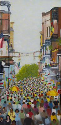 Mardi Gras On Bourbon Street Art Print by Douglas Ann Slusher