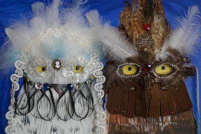 Mardi Gras Owls Art Print