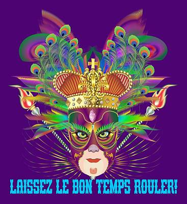 Digital Art - Mardi Gras Party King 2 All Products  by Bill Campitelle