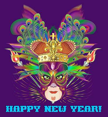 Digital Art - Mardi Gras Party King 8  All Products  Happy New Year by Bill Campitelle