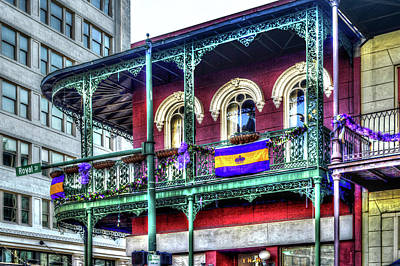Digital Art - Mardi Gras Royal Street Porch by Michael Thomas