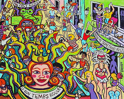 Painting - Mardi Gras - Throw Me Something Mister by Rebecca Korpita