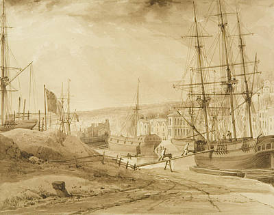 Harbor Drawing - Mardyke Seen From Near Hilhouse's Dock by Thomas Leeson the Elder Rowbotham