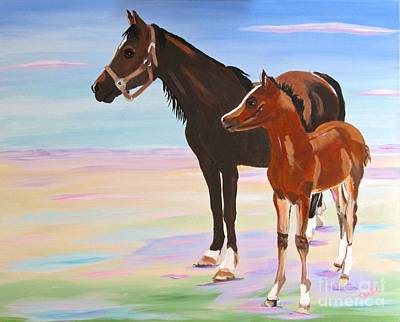 Painting - Mare And Colt, Additions To A Friends Menagerie by Phyllis Kaltenbach