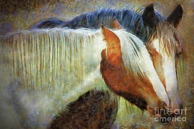 Tinkered Mixed Media - Mare And Filly by Sharon Kingston