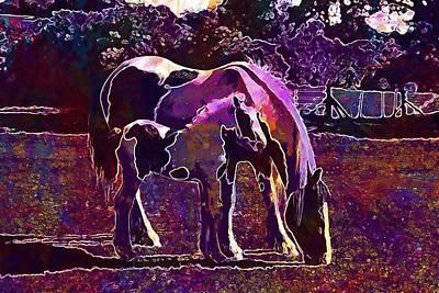 Digital Art - Mare And Foal Foal Piebald Mare  by PixBreak Art