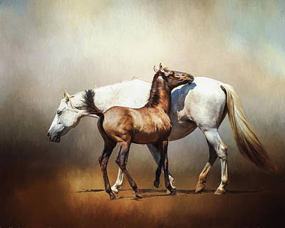 Andalusian Digital Art - Mare And Foal by Jan Galland