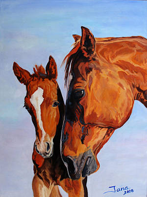 Mare And Foal Art Print by Jana Goode