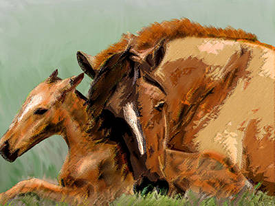 Mixed Media - Mare And Foal by Michele Avanti