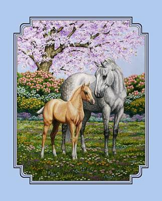 Cherry Tree Painting - Mare And Foal Pillow Blue by Crista Forest
