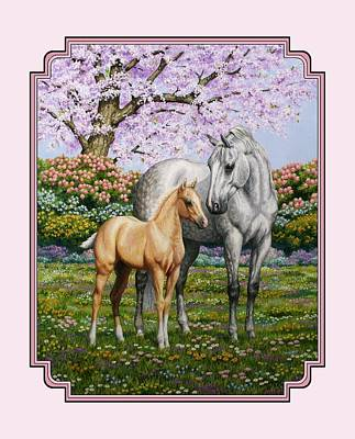 Cherry Tree Painting - Mare And Foal Pillow Pink by Crista Forest
