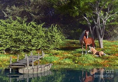 Rowboat Digital Art - Mare And Foal Resting By The River by Diana Voyajolu