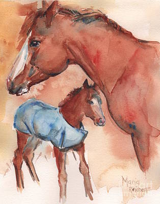 Sorrel Horse Painting - Mare And Foal Watercolor Art by Maria's Watercolor