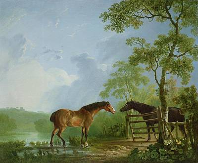 Horse Fence Painting - Mare And Stallion In A Landscape by Sawrey Gilpin