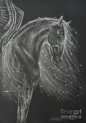 Drawing - Mare Of The Midnight Stars by Louise Green