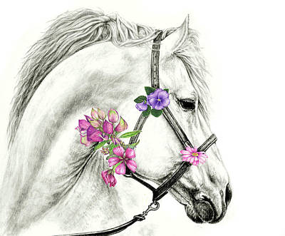 Mixed Media - Mare With Flowers by Heidi Kriel