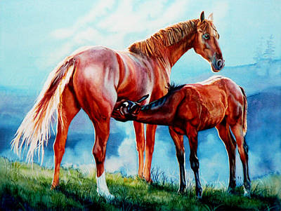 Horse Mural Painting - Mare With Foal by Hanne Lore Koehler