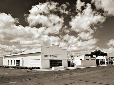 Photograph - Marfa Ballroom In Sepia by Allen Sheffield