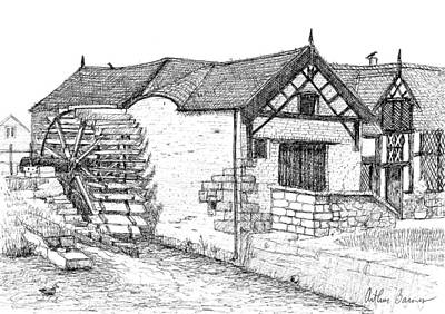 Water Mill Drawing - Marford Mill by Arthur Barnes