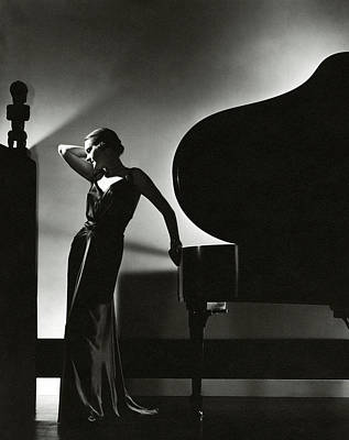 Living-room Photograph - Margaret Horan Posing Beside A Piano by Edward Steichen
