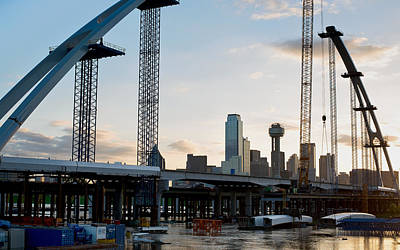 Dallas Skyline Photograph - Margaret Mcdermott Bridge Under Construction by Rospotte Photography
