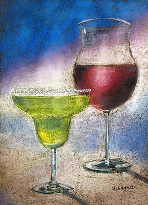 Wine Glasses Pastel - Margarita And A Glass Of Wine by Arline Wagner
