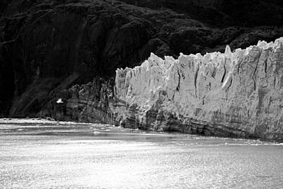 Photograph - Glacier Bay Seascapes. Margerie Glacier About To Calve Bw by Connie Fox
