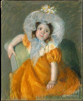 Margot In Orange Dress Art Print by Celestial Images