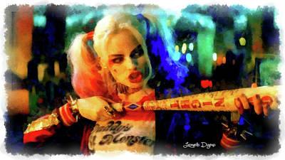 Margot Painting - Margot Robbie Playing Harley Quinn - Aquarell Style by Leonardo Digenio