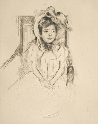 Relief - Margot Wearing A Large Bonnet, Seated In An Armchair by Mary Cassatt