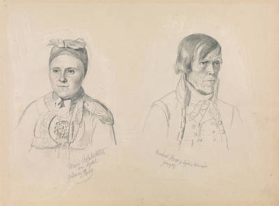 Drawing - Mari Aslaksdatter And Anders How From Sigdal by Adolph Tidemand