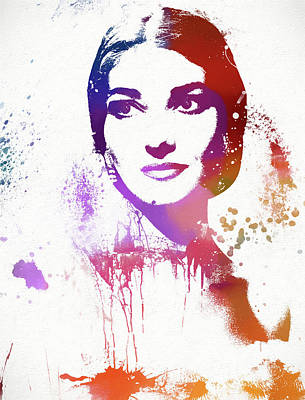 Painting - Maria Callas Paint Splatter by Dan Sproul