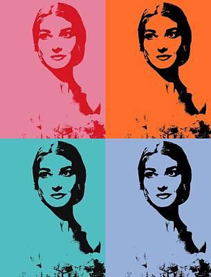 Mixed Media - Maria Callas Pop Art Panels by Dan Sproul