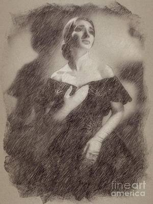 Pinup Drawing - Maria Callas, Soprano by Frank Falcon
