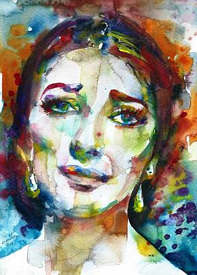 Painting - Maria Callas - Watercolor Portrait.10 by Fabrizio Cassetta