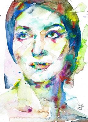 Painting - Maria Callas - Watercolor Portrait.11 by Fabrizio Cassetta