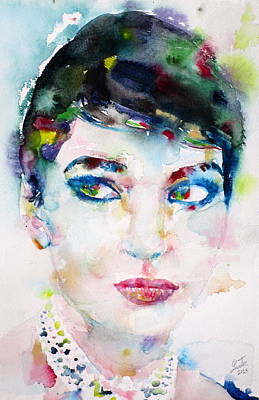 Painting - Maria Callas - Watercolor Portrait.6 by Fabrizio Cassetta