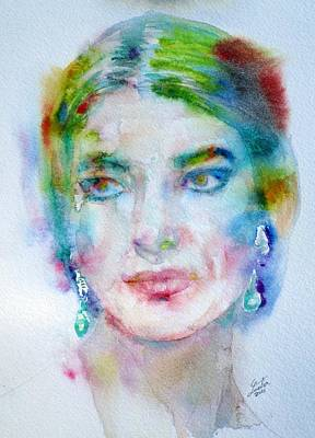 Painting - Maria Callas - Watercolor Portrait.7 by Fabrizio Cassetta