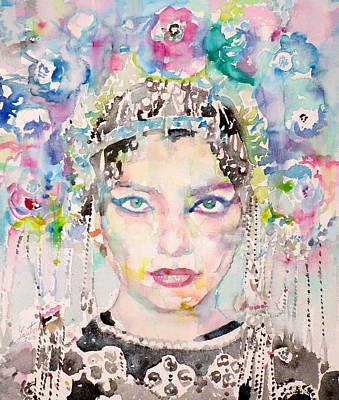 Painting - Maria Callas - Watercolor Portrait.9 by Fabrizio Cassetta