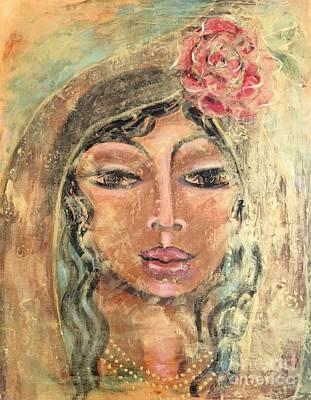 Religious Art Mixed Media - Maria De Oro Con Rosas by Maya Telford